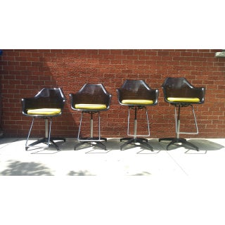 1970s Vintage Smoked Lucite Swivel Bar/Salon/ Barber Chairs - Set of 4 Preview