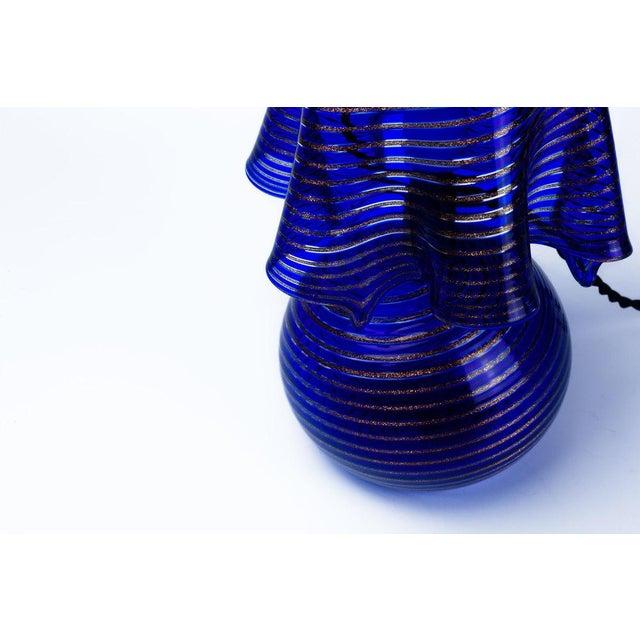 Italian Lamp La Murrina Murano Glass in Blue and Gold Swirl Reticcello, 1970s - Image 9 of 10