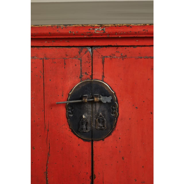 Red 18th Century Chinese Elm 4-Door Side Cabinet For Sale - Image 8 of 11