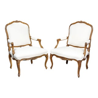 Louis XV Style Beechwood Armchairs - a Pair For Sale