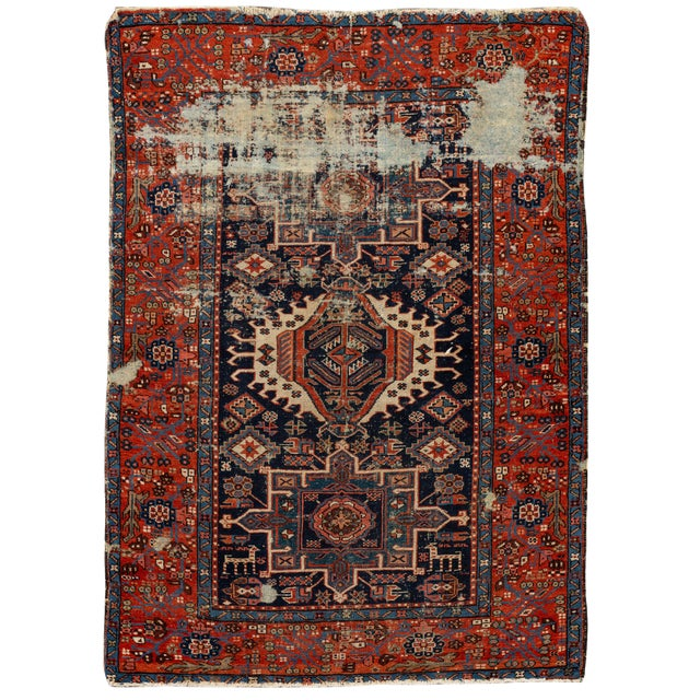 "Antique Persian Heriz Rug, 4'6"" X 6'2"" For Sale"