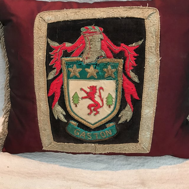 Metallic Appliqué Coat of Arms Custom Pillow - Image 3 of 4