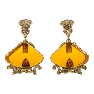 Antique Brass Orange Glass Perfume Bottles - a Pair For Sale