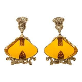 Antique Pair Brass Design/ Orange Glass Perfume Bottles For Sale