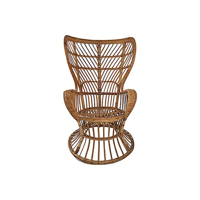 Rattan Wingback Chair by Lio Carminati For Sale - Image 12 of 12