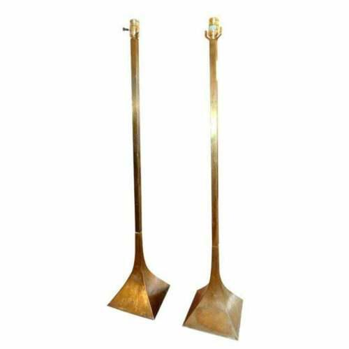 Brass Vintage Mid Century Modern Laurel Lamp Co. Floor Lamp Patinated Brass Metal Original Shade For Sale - Image 8 of 10