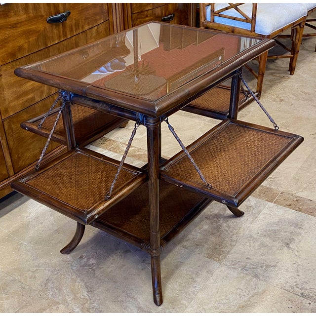 Asian Rattan End Table With Drop Shelves For Sale - Image 12 of 12