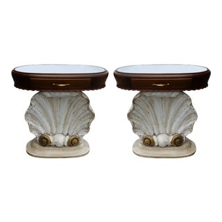 Pair of Italian Scallop Shell End Tables For Sale