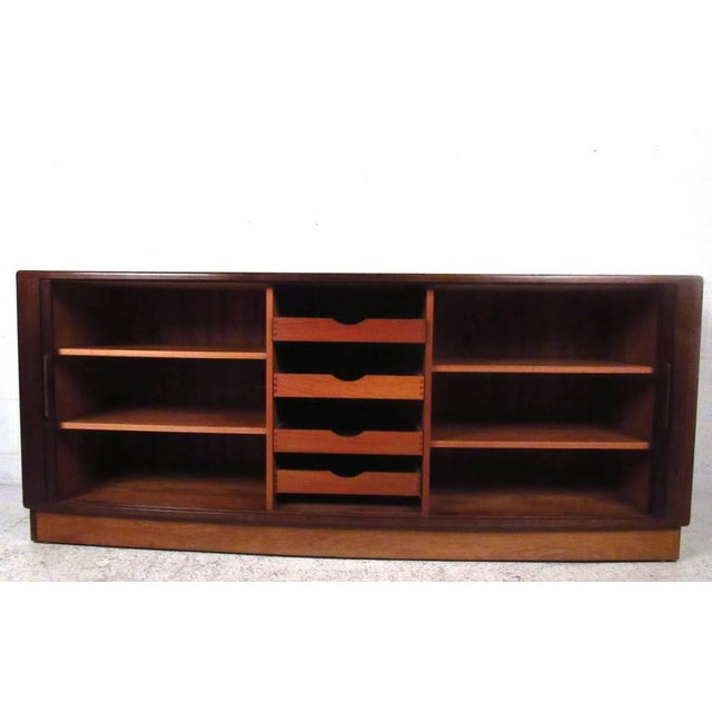 Rosewood H.P. Hansen Danish Rosewood Tambour Server For Sale - Image 7 of 11