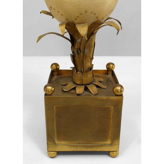 French Pair of 1940s French Palm Inspired Ostrich Egg Candelabra For Sale - Image 3 of 6