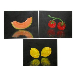 Lynne French Gallery Wall Garden Vegetable Oil Paintings - Set of 3 For Sale