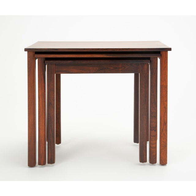 Danish Modern Rosewood Nesting Tables - Set of 3 For Sale - Image 9 of 12
