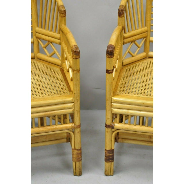 Vintage Brighton Pavilion Style Bamboo & Cane Rattan Arm Chairs - A Pair For Sale In Philadelphia - Image 6 of 12
