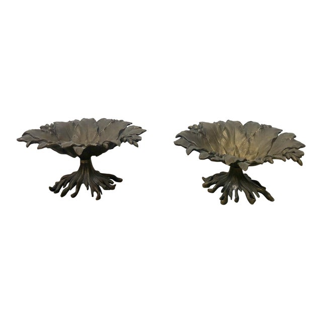 19th Century Napoleon III Bronze and Brass Tazzas - a Pair For Sale