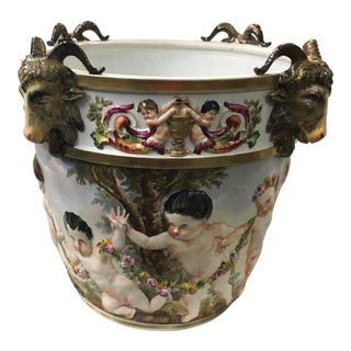 Monumental Hand Painted German CapoDi Monte Cherubs and 3d Goats Pot For Sale