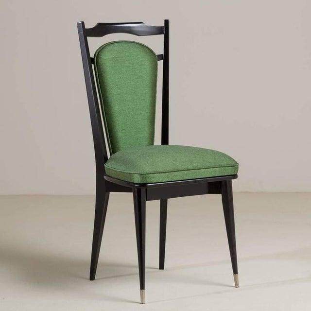 Set of Six Italian Ebonized Framed Dining Chairs, 1950s - Image 3 of 7