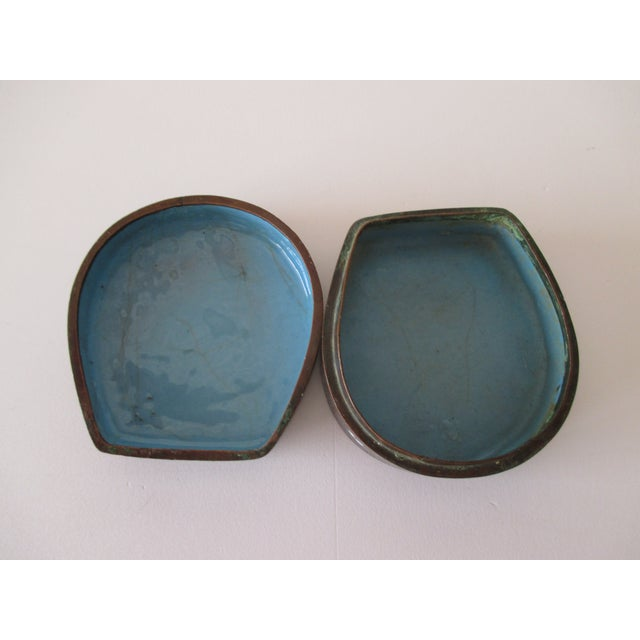 Vintage Petite Cloisonné Trinket Box In shades of blue, brown and white with the Ying and Yang symbols Size: 2.5 x 2.5 x 1