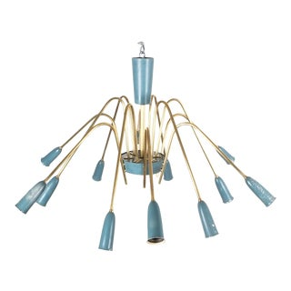 Refurbished Italian Twelve-Arm Chandelier in the Style of Stilnovo, 1950 For Sale