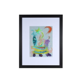 Merle Rosen Late 20th Century Abstract Still Life Oil Pastel Drawing For Sale