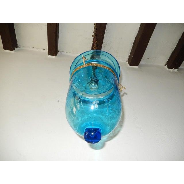 19th Century Cobalt Blue English Bell Jar Lantern Chandelier For Sale - Image 4 of 13