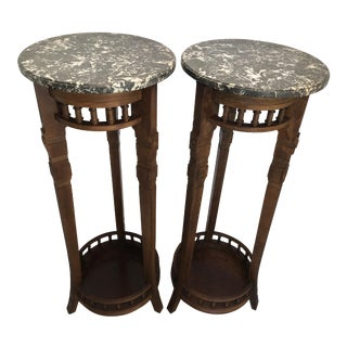 Early 20th Century Pair American Neoclassical Pedestals Tuscan Marble Tops- a Pair For Sale