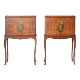 Pair 19th Century Adams Style Satinwood Tables / Chests For Sale