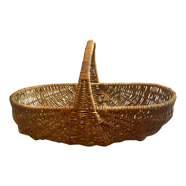 Mid 19th Century Antique Willow Reed Buttocks Basket For Sale