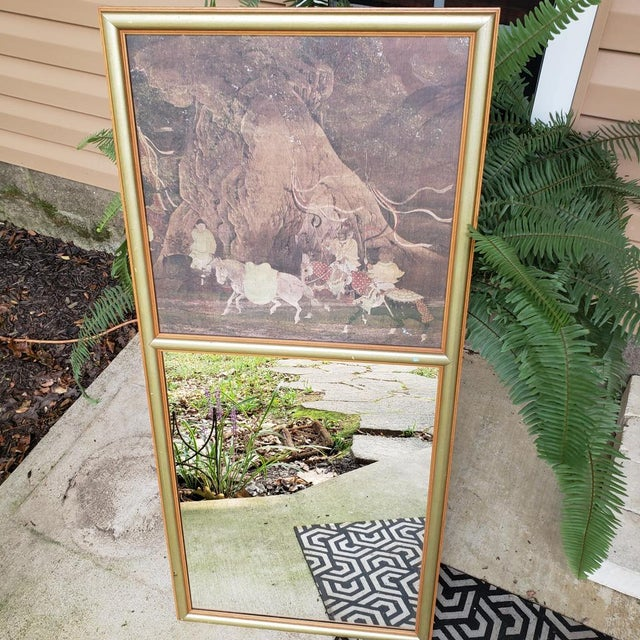 Vintage Asian Chinoiserie Trumeau Wall Mirror With Top Framed Print Motif Hall Gold For Sale - Image 4 of 10