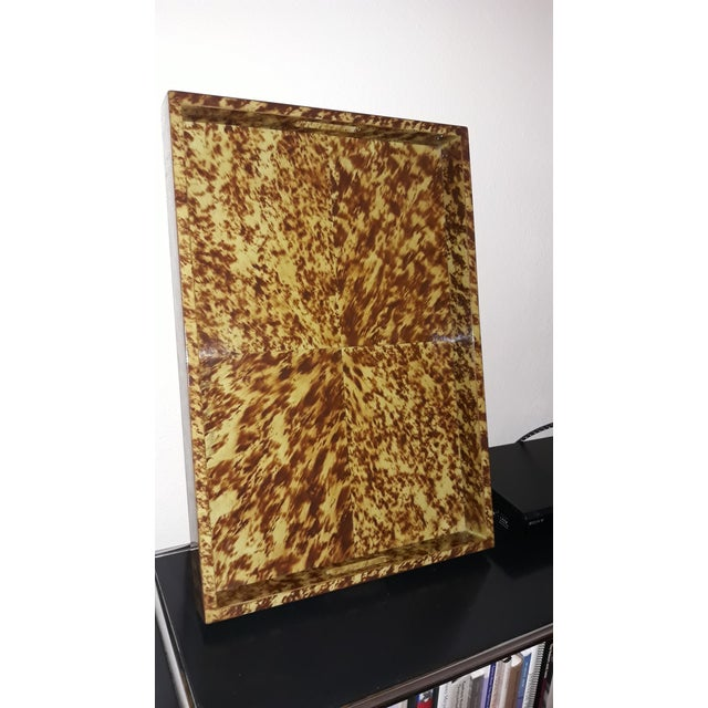 Faux Tortoise Lacquered Serving Tray For Sale In Dallas - Image 6 of 6