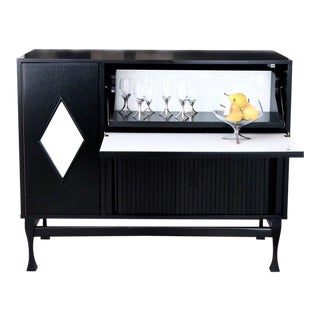 Unique Black Lacquered Bar with White Glass Diamond Door Detail