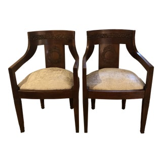 Antique Hand Carved Empire Barrel Back Chairs - a Pair For Sale