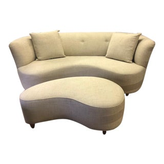 J. Redmond Custom Curved Sofa & Ottoman For Sale