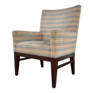 Traditional Striped Upholstered Armchair