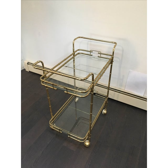 Brass Plated Mid Century Bamboo Bar Cart - Image 10 of 11