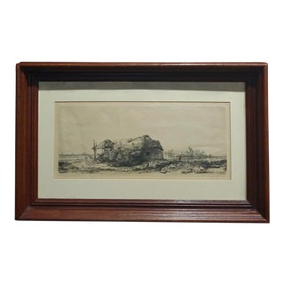 Rembrandt Landscape With a Cottage and Haybarn: Oblong Etching For Sale