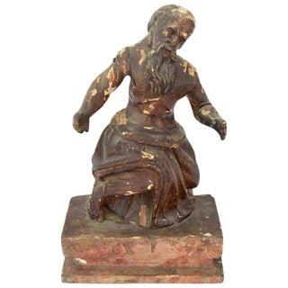 18th Century Antique German Saint Jerome Carved Wooden Sculpture For Sale