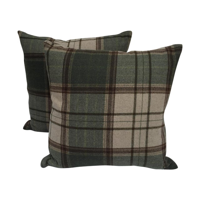 Scottish Wool Plaid Pillows - A Pair - Image 1 of 5