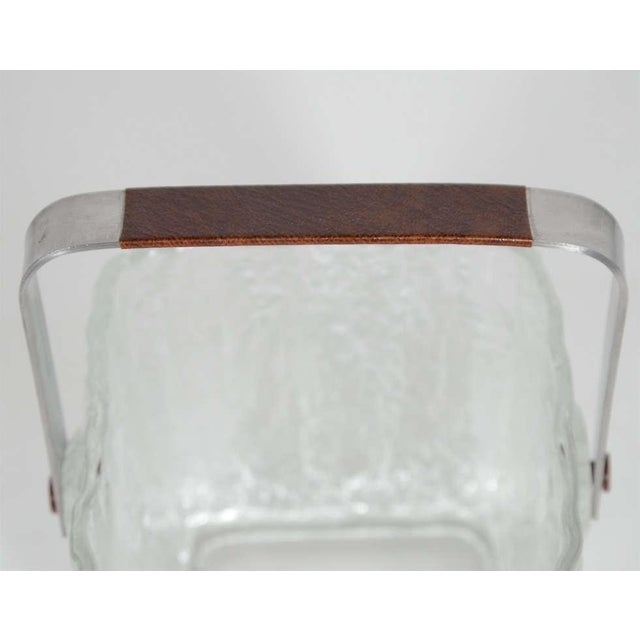 Metal Vintage Ice Bucket With Textured Ice Cube Glass Design For Sale - Image 7 of 11
