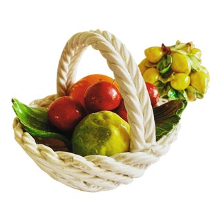 Vintage Ceramic Italian Fruit Basket Decor, Set of Two For Sale