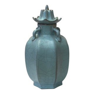 Chinese Ru Ware Blue Crackle Ceramic Urn Jar Display For Sale