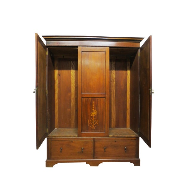 Inlaid Armoire W/ Mirrored Doors - Image 3 of 10