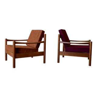 Mid Century Modern Teak Danish Lounge Chairs, a Pair For Sale