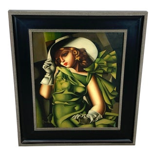 Young Lady With Gloves, After Tamara De Lempicka For Sale