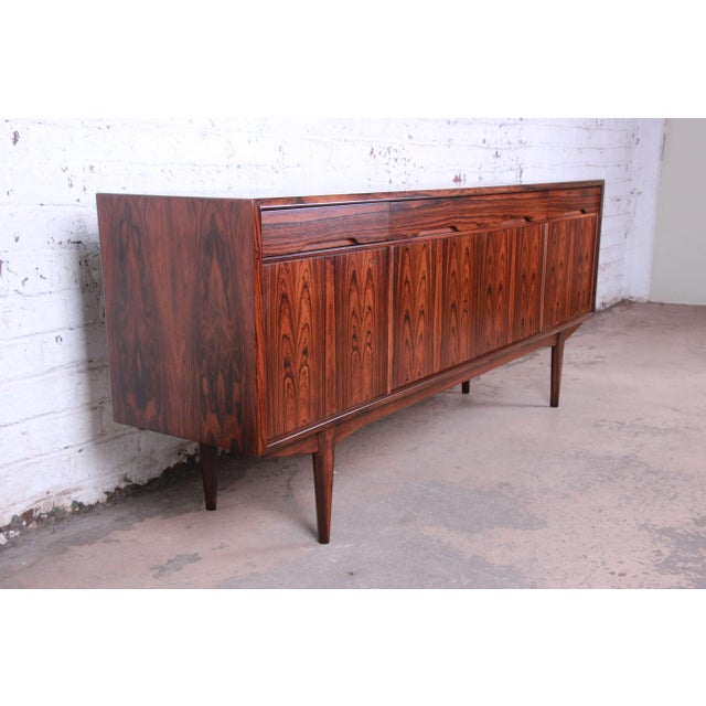 Danish Modern Danish Modern Rosewood Sideboard Credenza, Newly Refinished For Sale - Image 3 of 12