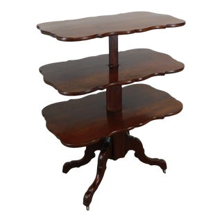English Regency Antique Mahogany Metamorphic 3 Tier Dumb Waiter Table For Sale