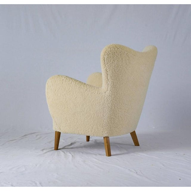 Scandinavian Sheepskin Lounge Chair - Image 6 of 10