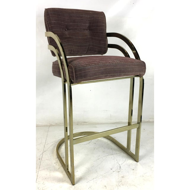 1970s Brass Cantilevered Bar Stools - Set of 4 For Sale - Image 5 of 7
