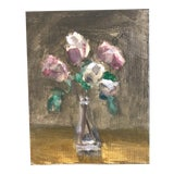 Image of Original Contemporary Impressionist Still Life Painting Roses For Sale