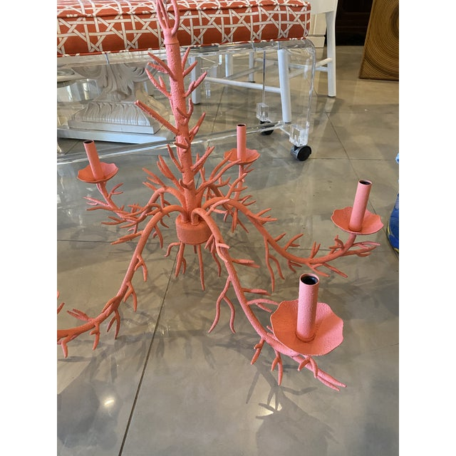 Vintage Palm Beach Metal Coral 5-Light Chandelier For Sale - Image 11 of 12