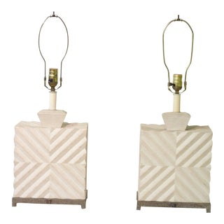 1950's Modern White Geometric Design Lamps - a Pair For Sale